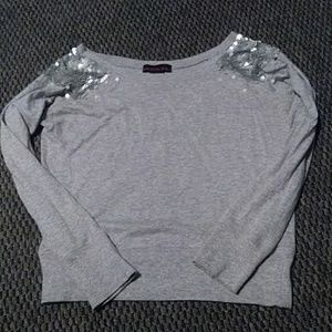 Gray long sleeve sequin shirt